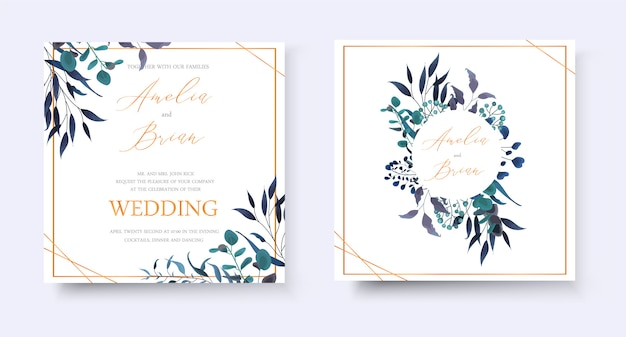 Свадебные цветочные золотые приглашения сохранить дату rsvp дизайн с тропическими листьями травы эвкалипта венок и рамка. ботанический элегантный декоративный вектор шаблон акварель стиль Бесплатные векторы