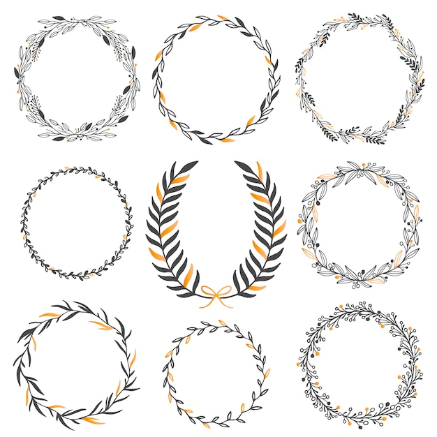 Wedding floral graphic elements set Premium Vector