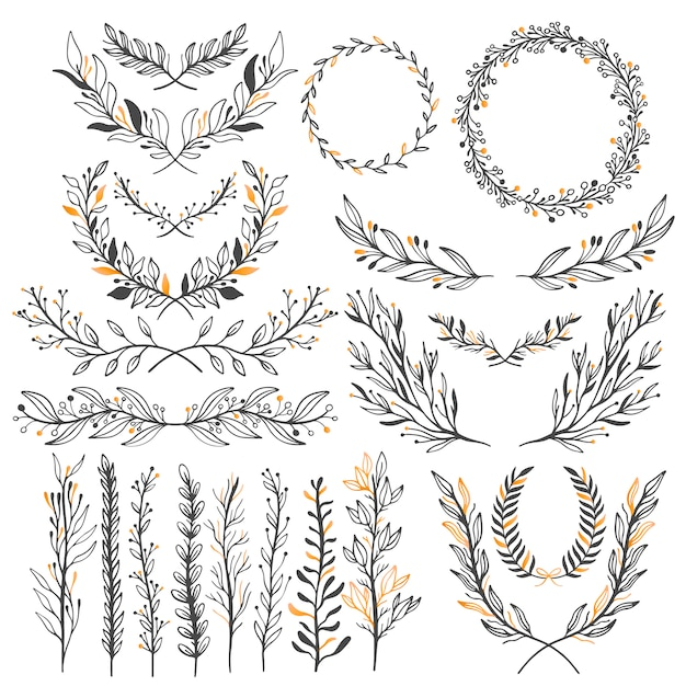 Wedding floral graphic elements set Premium Vector