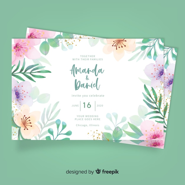 Wedding floral invitation card Free Vector