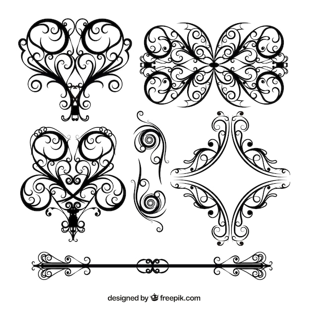 Wedding floral lace pattern vector Vector | Free Download