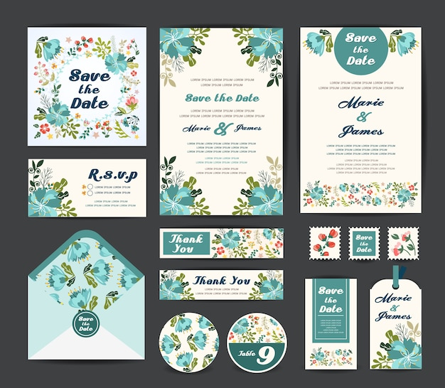 Wedding floral template Premium Vector
