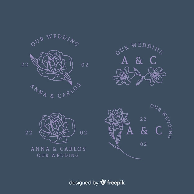 Wedding florist logo template collection Free Vector
