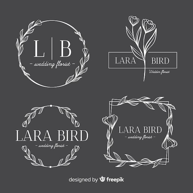 Wedding florist logo templates collection Premium Vector