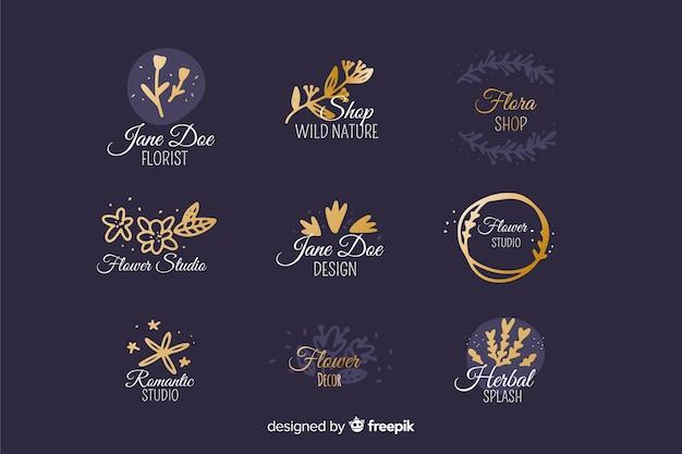 Wedding florist logo templates collection Free Vector