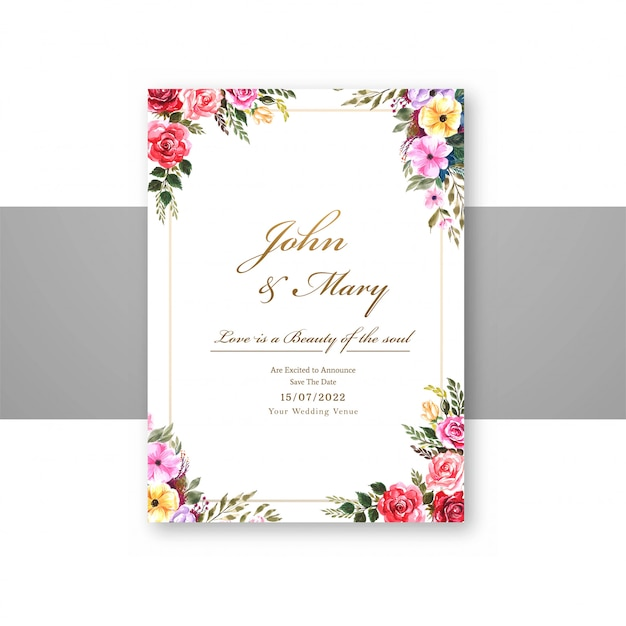 Wedding flowers with invite invitation card template design Free Vector