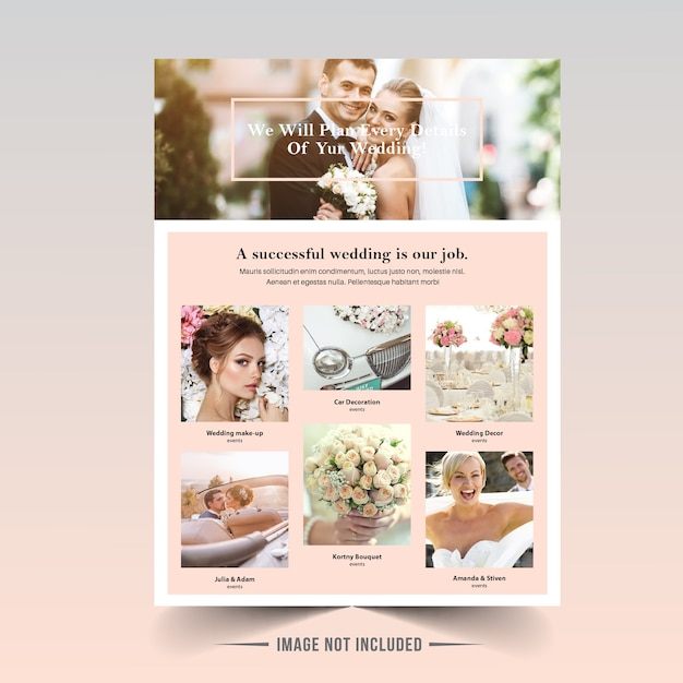 Wedding flyer template Premium Vector