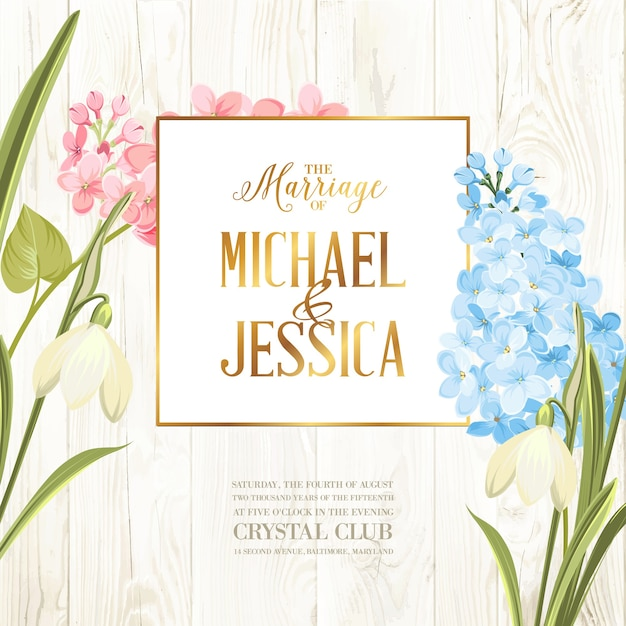 Wedding frame card with blooming lilac. Free Vector