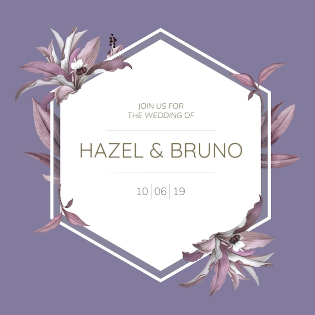 Wedding frame with purple leaves design vector Free Vector