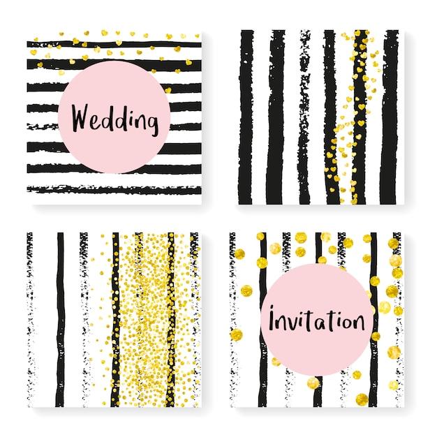 Wedding glitter confetti on stripes, invitation set Premium Vector