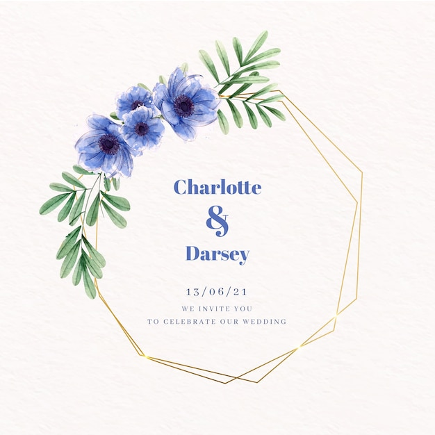 Wedding golden floral frame blue flowers Free Vector