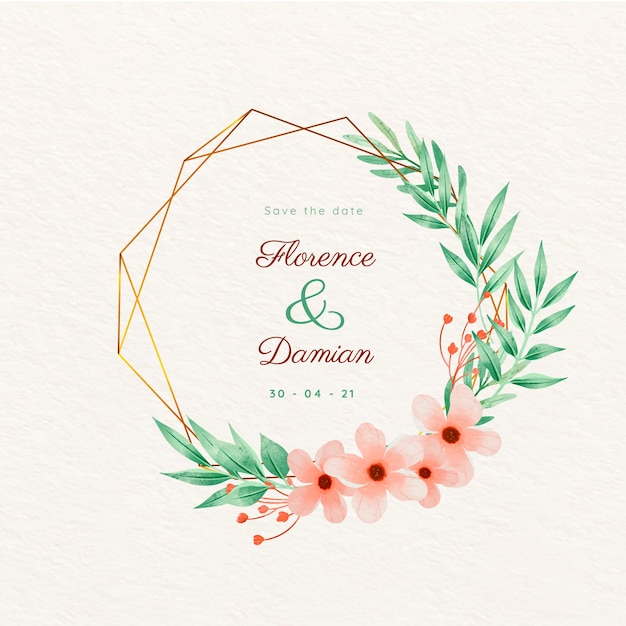 Wedding golden floral frame save the date Free Vector