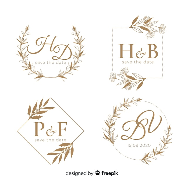 Wedding hand drawn floral logo template Free Vector