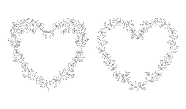 Wedding heart floral illustration Premium Vector