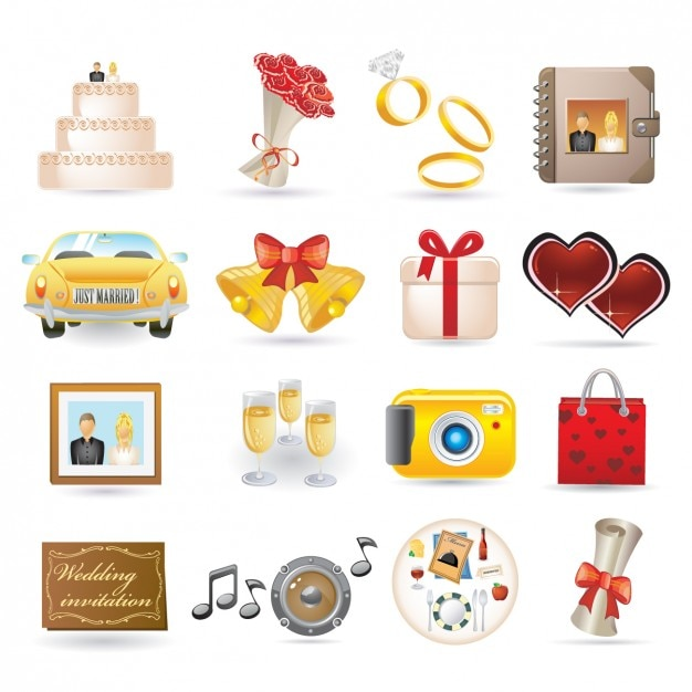 Wedding Icon Collection Vector Free Download