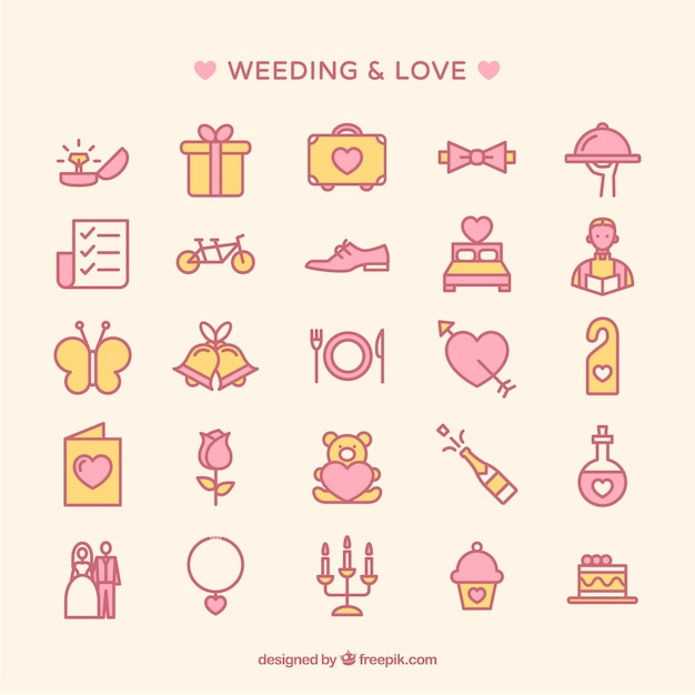 Wedding icons collection Premium Vector