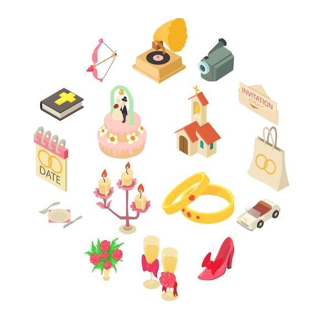 Wedding icons set, isometric style Premium Vector