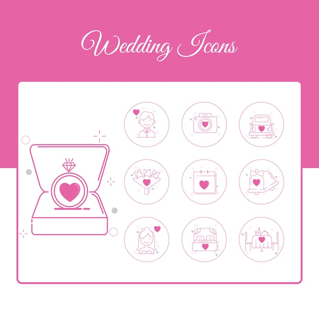 Wedding icons set with outline style Premium Vector