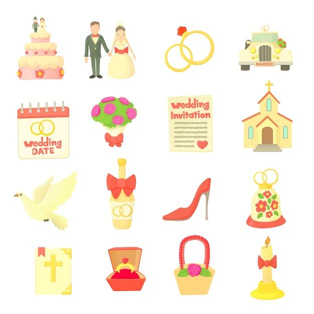 Wedding icons set Premium Vector