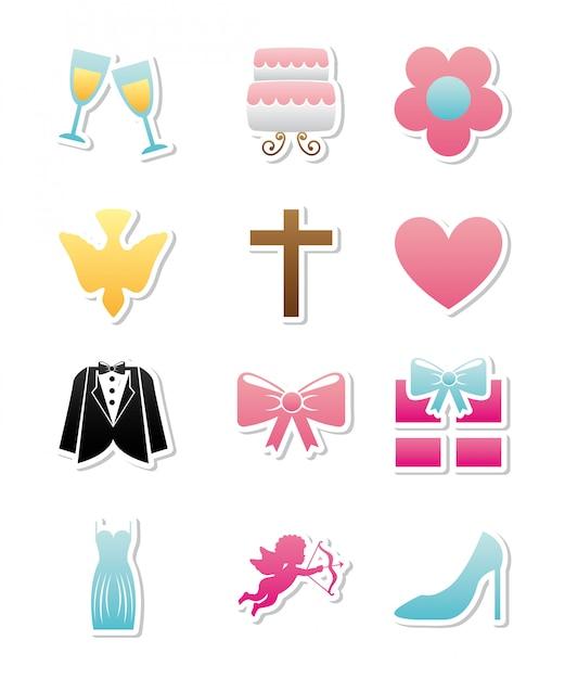 Wedding icons over white backgroud vector illustration Premium Vector