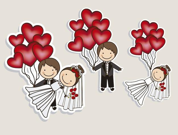 Wedding icons Premium Vector