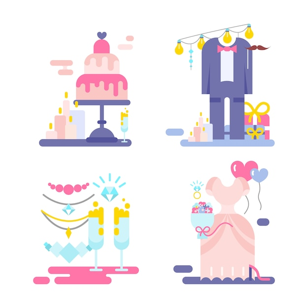 Wedding illustration of invitation with icons set. Free Vector