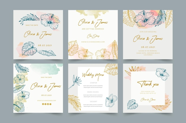 Wedding instagram posts with floral ornaments Free Vector