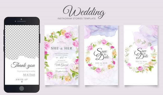 Wedding instagram stories template Free Vector