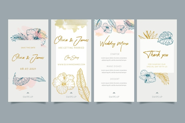 花の装飾品を使った結婚式のinstagramストーリー Premiumベクター