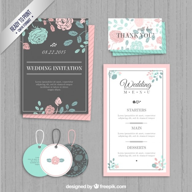 Wedding invitation, labels and menu Free Vector