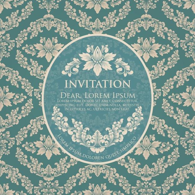 ビンテージデザインの結婚式の招待状とお知らせカードテンプレート 無料ベクター