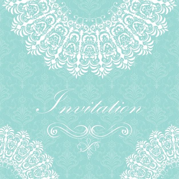 アラベスクの要素が付いている装飾的な丸いレースの結婚式の招待状および発表カード。 mehndiスタイル。伝統的な飾りのオリエンテーション。 zentangleのような丸い色の花の装飾。 無料ベクター