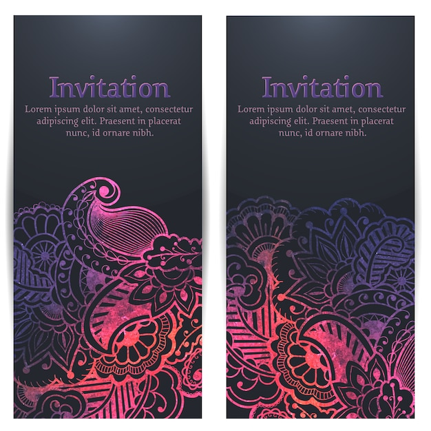 Wedding invitation and announcement card with floral background artwork. Free Vector