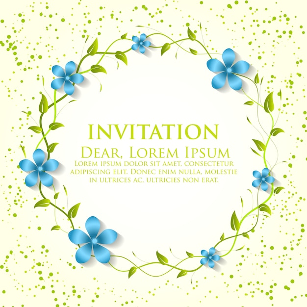 Wedding Invitation And Announcement Card With Floral Background