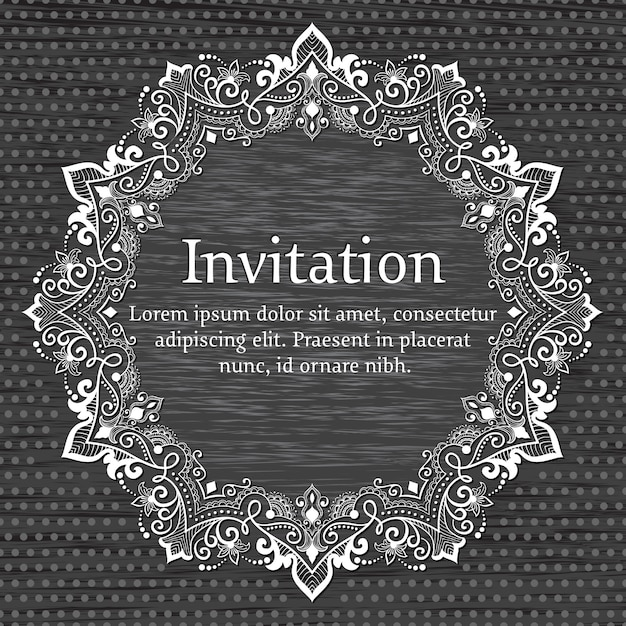 Wedding invitation and announcement card with ornamental round lace with arabesque elements. Free Vector