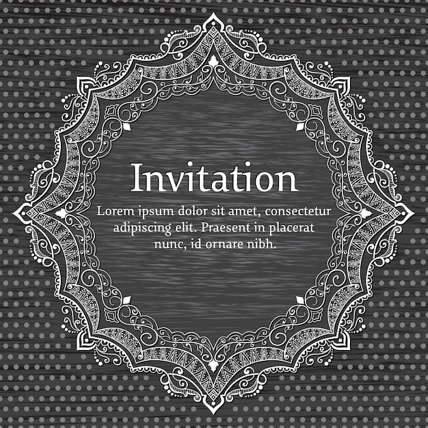 Wedding invitation and announcement card with ornamental round lace Free Vector