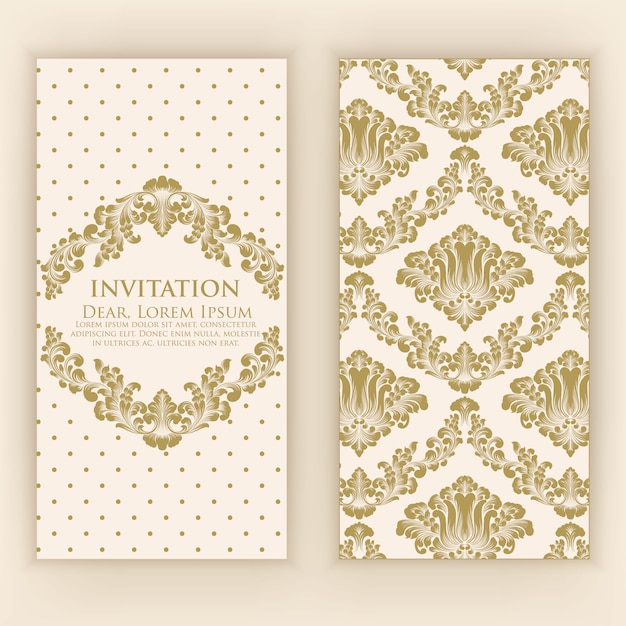 Wedding invitation and announcement card with vintage artwork Free Vector