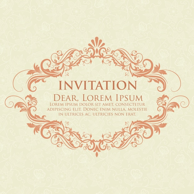 Wedding invitation and announcement card with vintage background artwork. elegant ornate damask background. elegant floral abstract ornament. design template. Free Vector