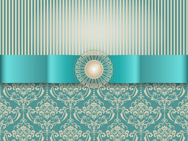 Wedding invitation and announcement card with vintage background artwork Free Vector