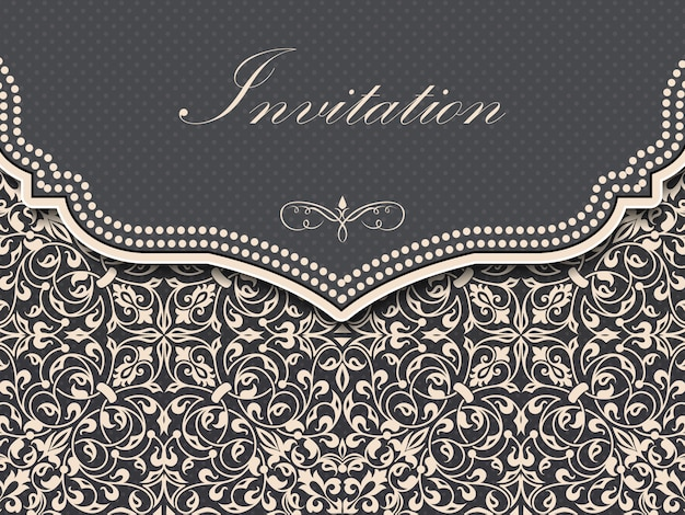 Wedding invitation and announcement card with vintage background Free Vector