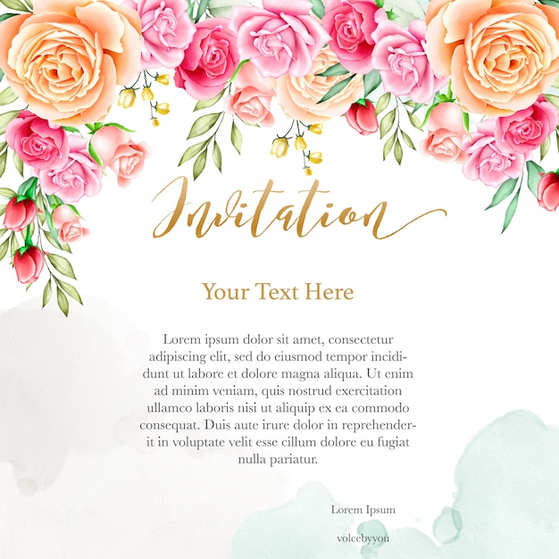 Wedding Invitation Background With Watercolor Floral Template Vector