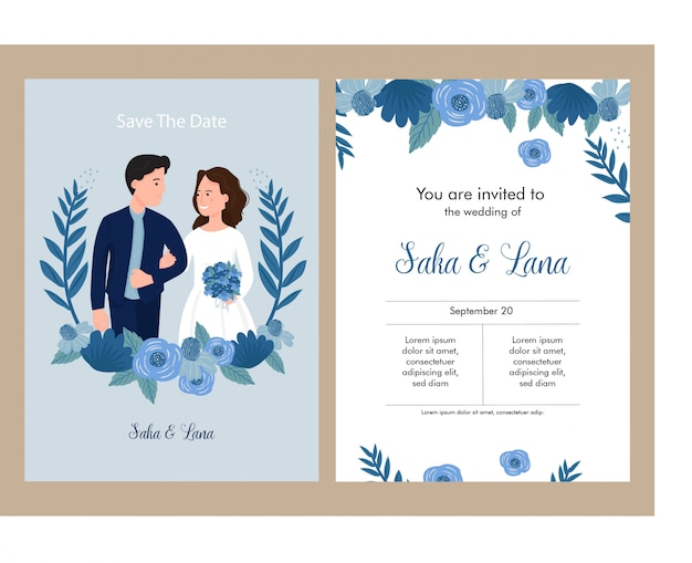 Wedding invitation blue theme with bride and groom Premium Vector