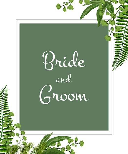 Wedding invitation. bride and groom lettering in frame with greenery on white background. Free Vector
