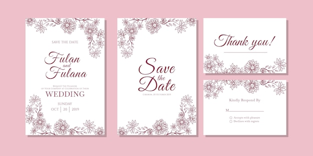 Wedding Invitation Card Abstract Floral And Flower Outline