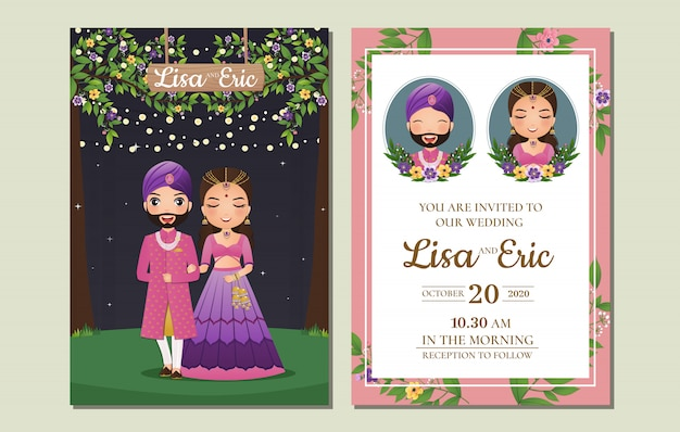 Wedding invitation card the bride and groom cute couple in traditional indian dress cartoon character Premium Vector