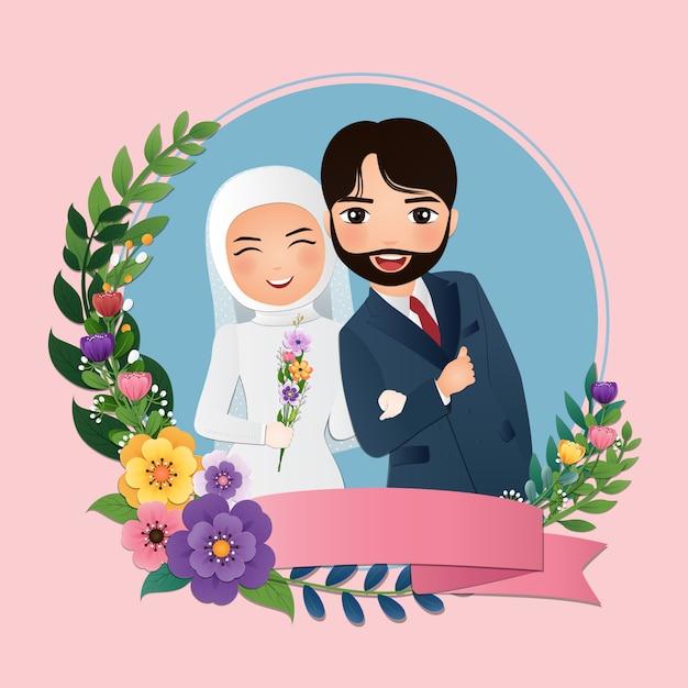 Wedding Invitation Card The Bride And Groom Cute Muslim Couple Cartoon Premium Vector