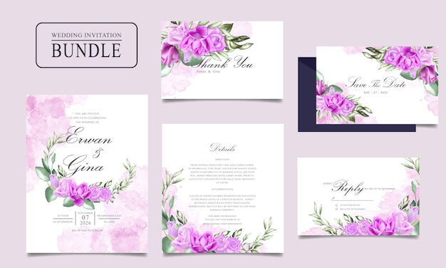 Wedding invitation card bundle design with watercolor floral and leaves template Premium Vector