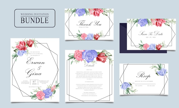 Wedding invitation card bundle with watercolor floral and leaves template Premium Vector