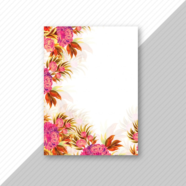 Wedding invitation card colorful floral template Free Vector