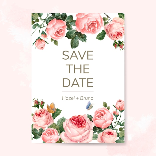 Wedding invitation card decorated with roses vector Free Vector